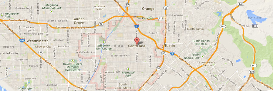 santa ana bail bonds map of santa ana